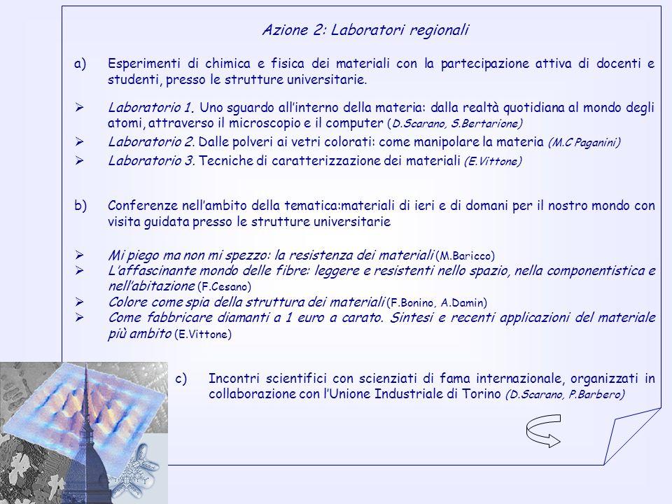 Azione 2: Laboratori regionali a)Esperimenti di chimica e fisica dei materiali con la partecipazione attiva di docenti e studenti, presso le strutture