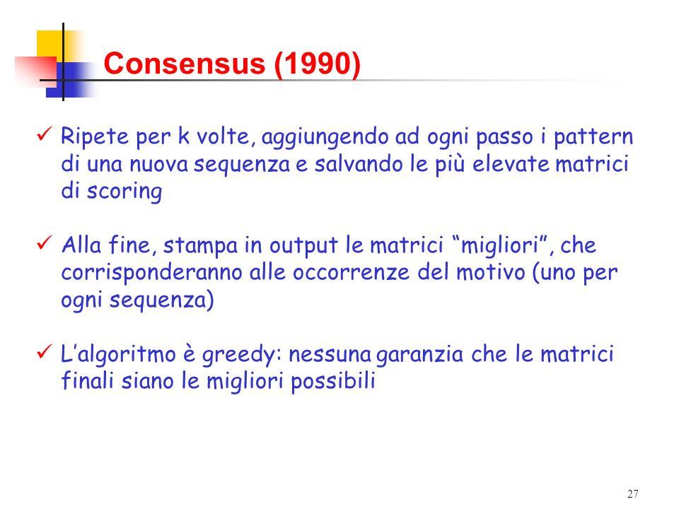 27 Consensus (1990) Ripete per k volte, aggiungendo ad ogni passo i pattern di una nuova sequenza e salvando le più elevate matrici di scoring Alla fi