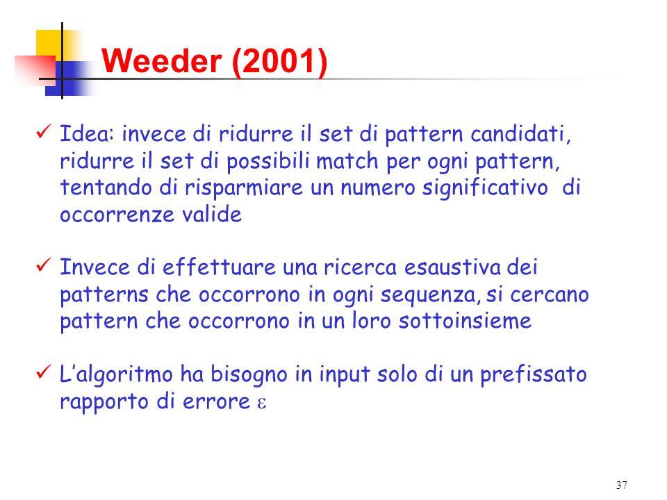 37 Weeder (2001) Idea: invece di ridurre il set di pattern candidati, ridurre il set di possibili match per ogni pattern, tentando di risparmiare un n