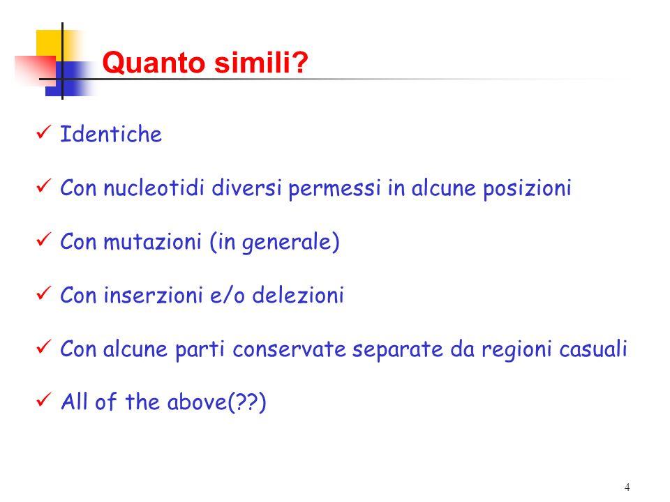 4 Quanto simili? Identiche Con nucleotidi diversi permessi in alcune posizioni Con mutazioni (in generale) Con inserzioni e/o delezioni Con alcune par