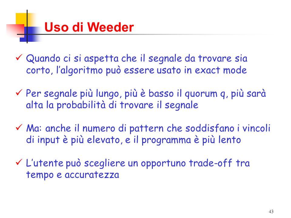 43 Uso di Weeder Quando ci si aspetta che il segnale da trovare sia corto, lalgoritmo può essere usato in exact mode Per segnale più lungo, più è bass