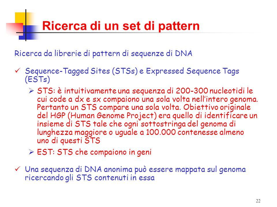 22 Ricerca di un set di pattern Ricerca da librerie di pattern di sequenze di DNA Sequence-Tagged Sites (STSs) e Expressed Sequence Tags (ESTs) STS: è