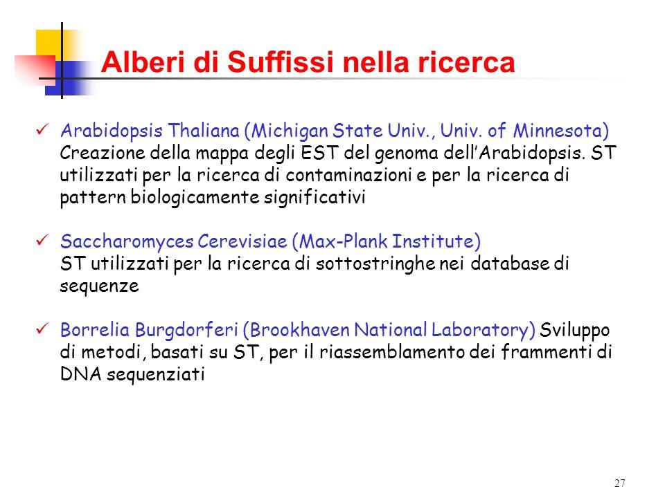 27 Alberi di Suffissi nella ricerca Arabidopsis Thaliana (Michigan State Univ., Univ. of Minnesota) Creazione della mappa degli EST del genoma dellAra