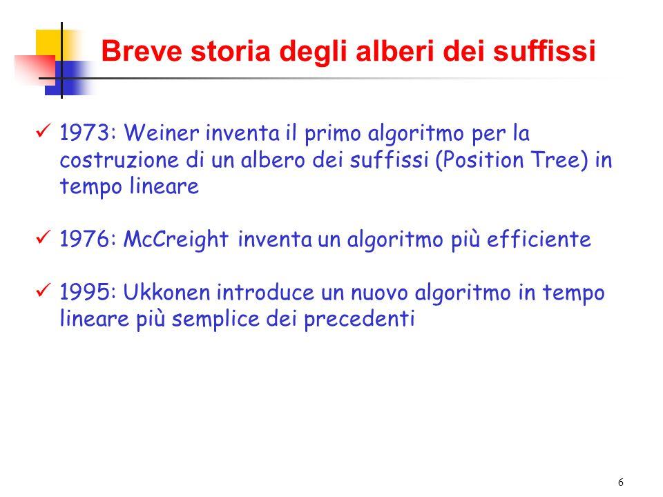 6 Breve storia degli alberi dei suffissi 1973: Weiner inventa il primo algoritmo per la costruzione di un albero dei suffissi (Position Tree) in tempo