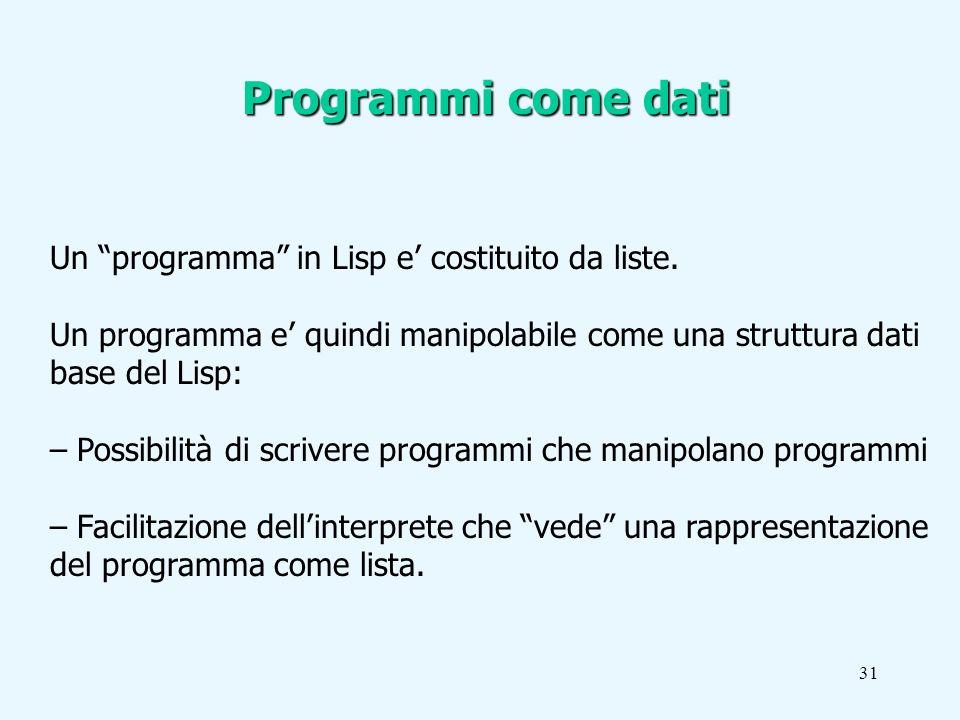 31 Un programma in Lisp e costituito da liste.
