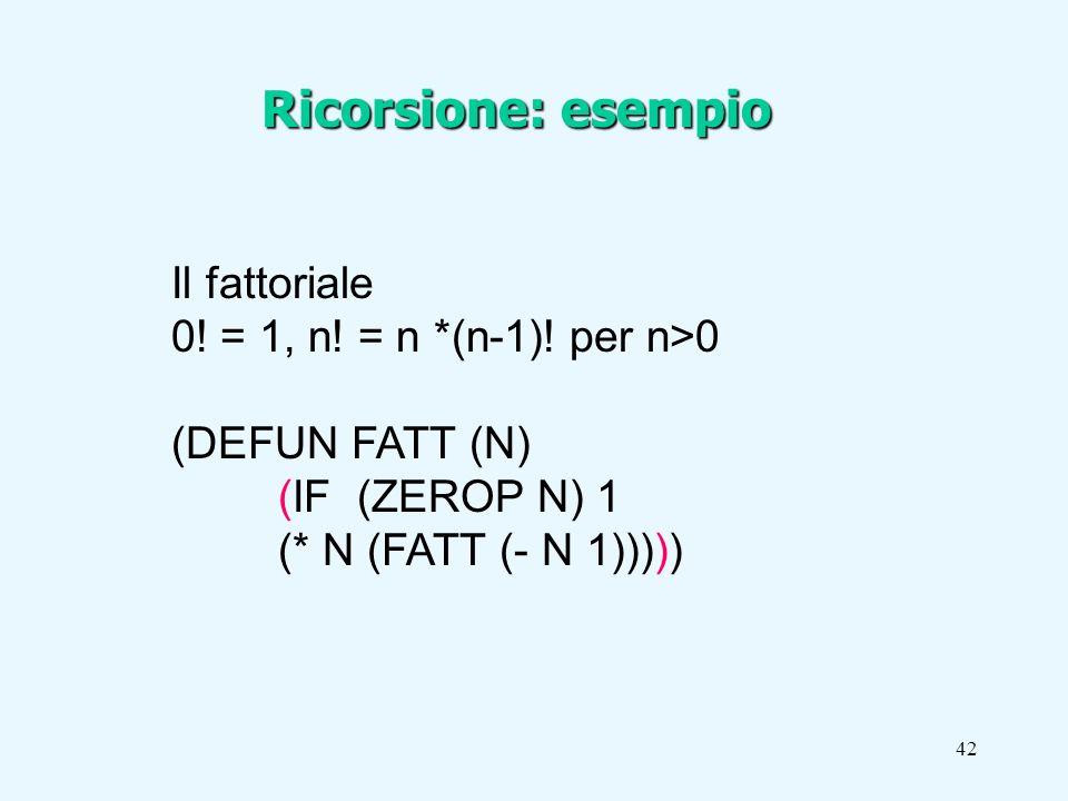 42 Il fattoriale 0. = 1, n. = n *(n-1).