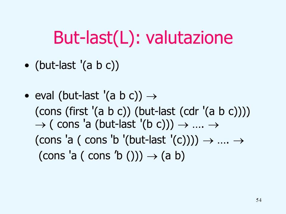 54 But-last(L): valutazione (but-last (a b c)) eval (but-last (a b c)) (cons (first (a b c)) (but-last (cdr (a b c)))) ( cons a (but-last (b c))) ….