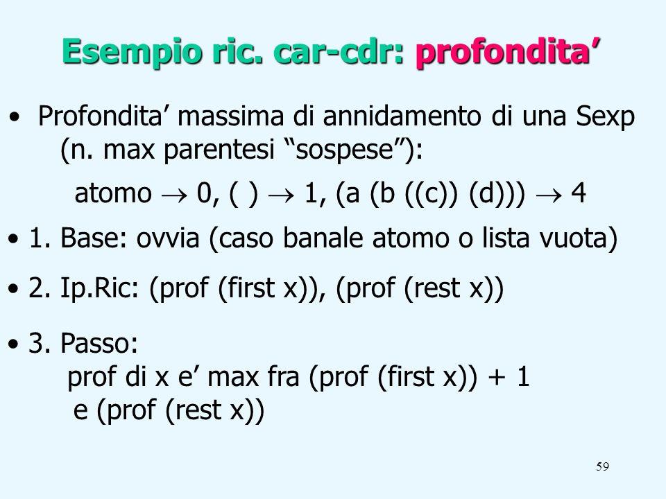 59 Esempio ric. car-cdr: profondita Profondita massima di annidamento di una Sexp (n.