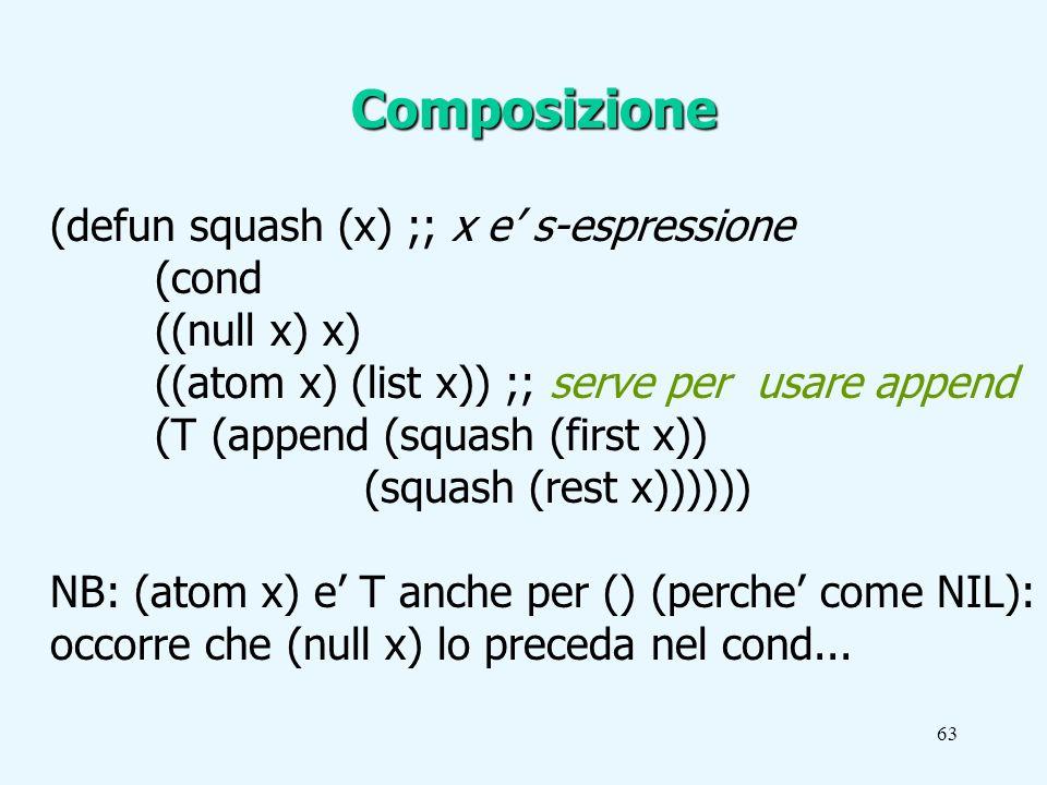 63 (defun squash (x) ;; x e s-espressione (cond ((null x) x) ((atom x) (list x)) ;; serve per usare append (T (append (squash (first x)) (squash (rest x)))))) NB: (atom x) e T anche per () (perche come NIL): occorre che (null x) lo preceda nel cond...
