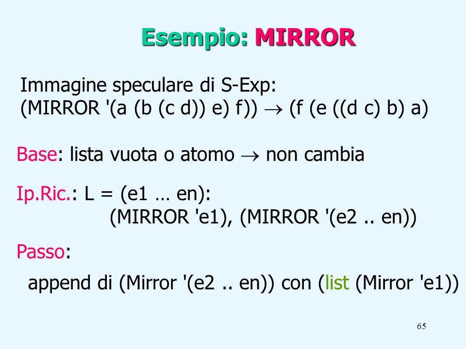 65 Immagine speculare di S-Exp: (MIRROR (a (b (c d)) e) f)) (f (e ((d c) b) a) Esempio: MIRROR Base: lista vuota o atomo non cambia Ip.Ric.: L = (e1 … en): (MIRROR e1), (MIRROR (e2..