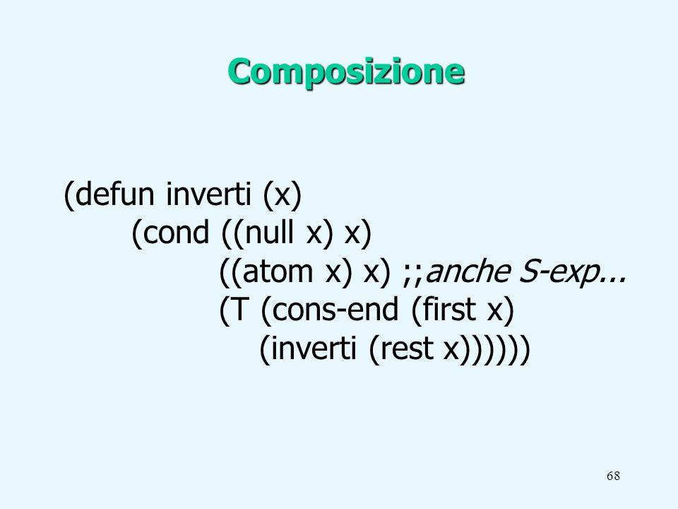 68 (defun inverti (x) (cond ((null x) x) ((atom x) x) ;;anche S-exp...