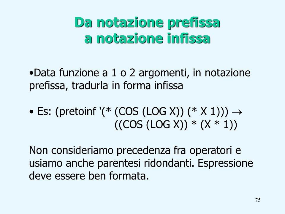 75 Data funzione a 1 o 2 argomenti, in notazione prefissa, tradurla in forma infissa Es: (pretoinf (* (COS (LOG X)) (* X 1))) ((COS (LOG X)) * (X * 1)) Non consideriamo precedenza fra operatori e usiamo anche parentesi ridondanti.