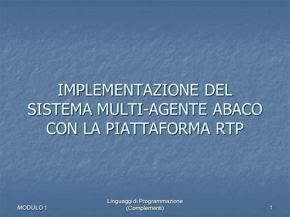 MODULO 1 Linguaggi di Programmazione (Complementi)2 ABACO: elementi base ABACO è unarchittettura concettuale Requisiti per implementare ABACO RTP: introduzione Contenuto lezione IMPLEMENTAZIONE DEL SISTEMA MULTI-AGENTE ABACO CON LA PIATTAFORMA RTP
