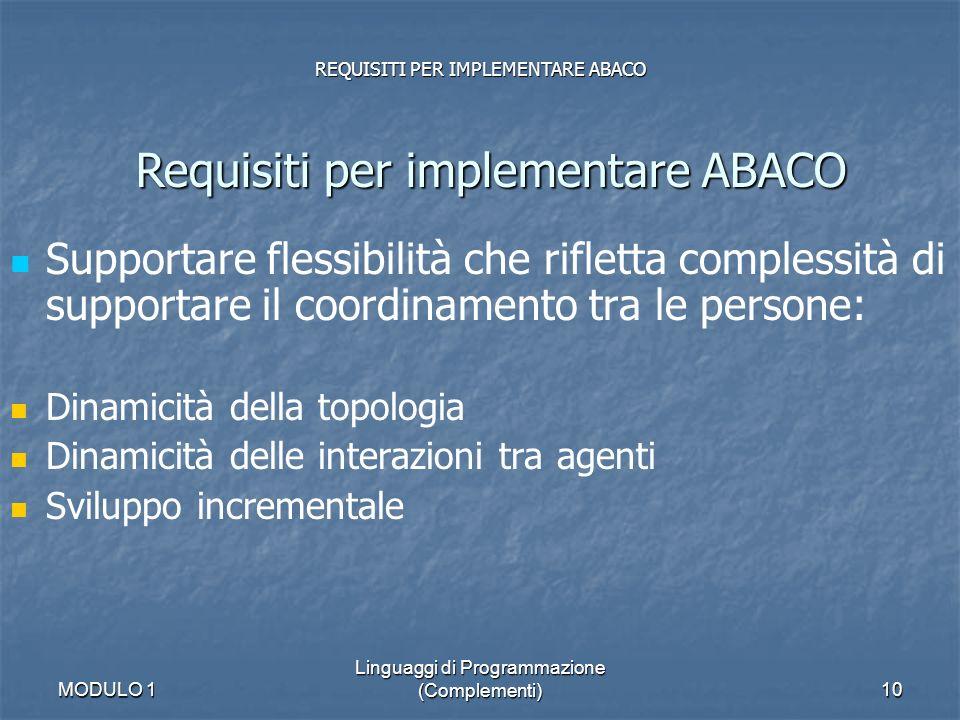 MODULO 1 Linguaggi di Programmazione (Complementi)10 REQUISITI PER IMPLEMENTARE ABACO Requisiti per implementare ABACO Supportare flessibilità che rif