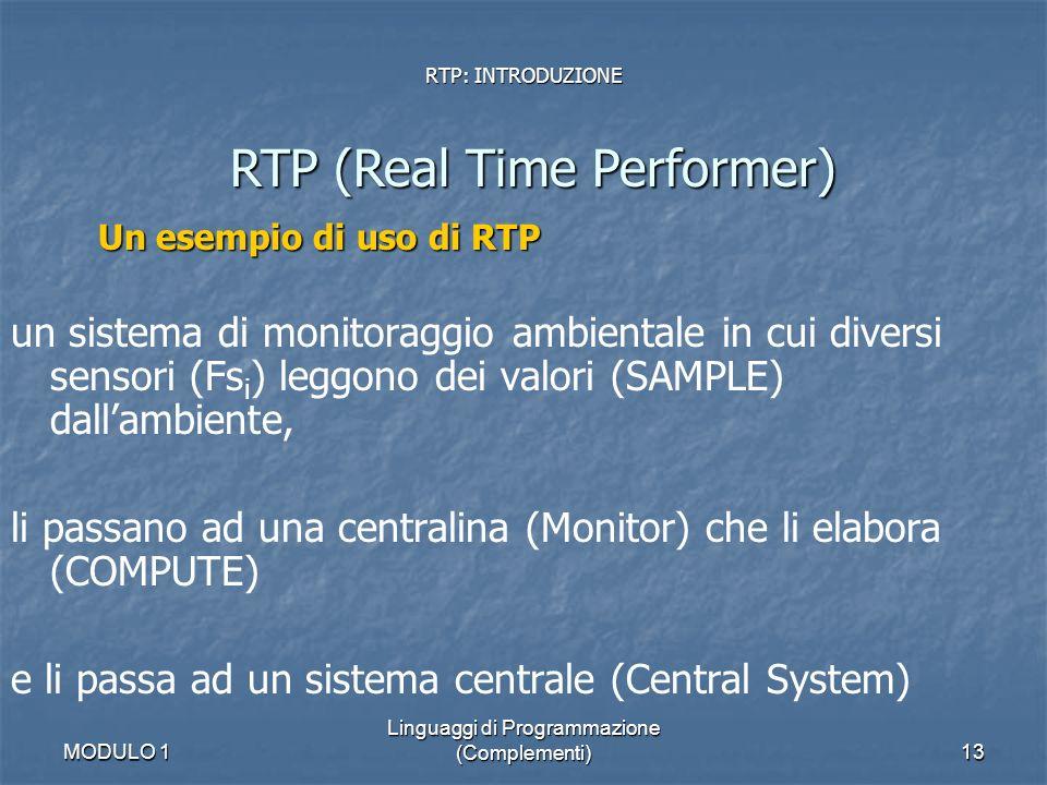 MODULO 1 Linguaggi di Programmazione (Complementi)13 RTP: INTRODUZIONE RTP (Real Time Performer) Un esempio di uso di RTP un sistema di monitoraggio a