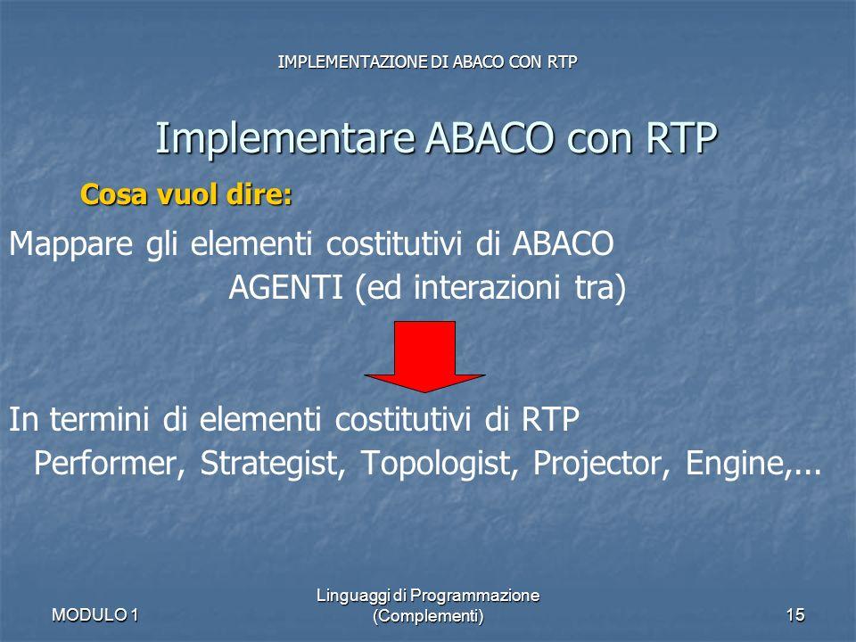MODULO 1 Linguaggi di Programmazione (Complementi)15 IMPLEMENTAZIONE DI ABACO CON RTP Implementare ABACO con RTP Mappare gli elementi costitutivi di A