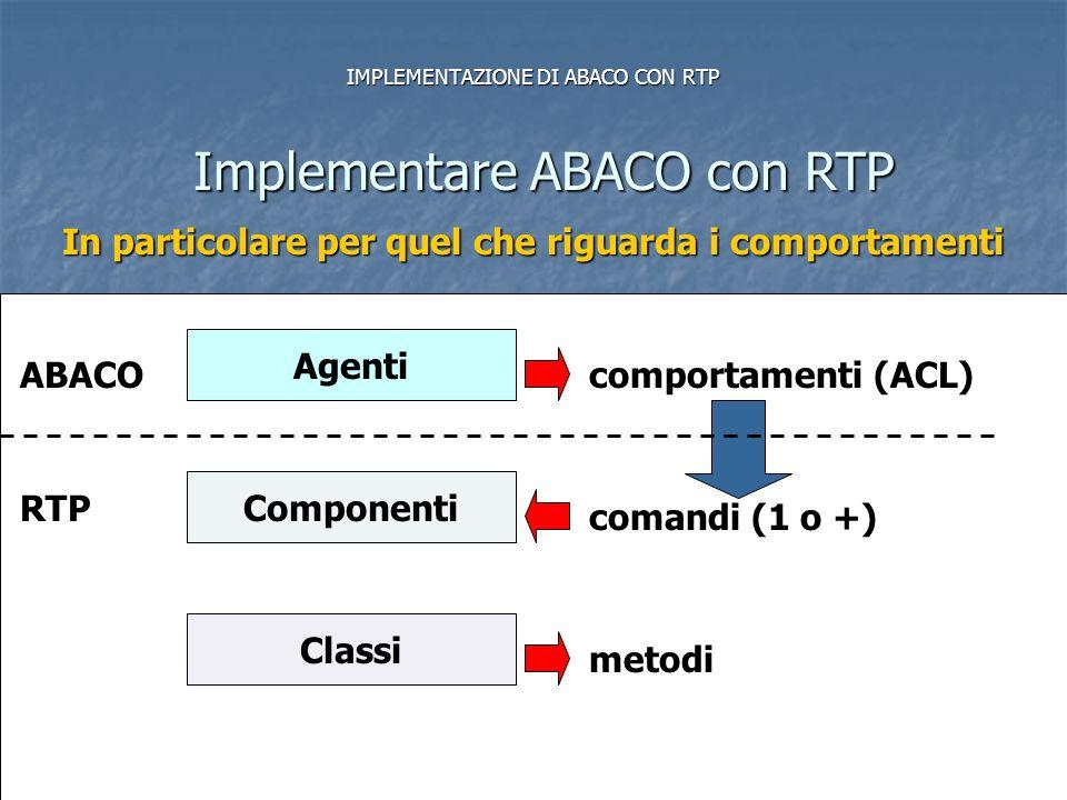 MODULO 1 Linguaggi di Programmazione (Complementi)16 IMPLEMENTAZIONE DI ABACO CON RTP Implementare ABACO con RTP In particolare per quel che riguarda