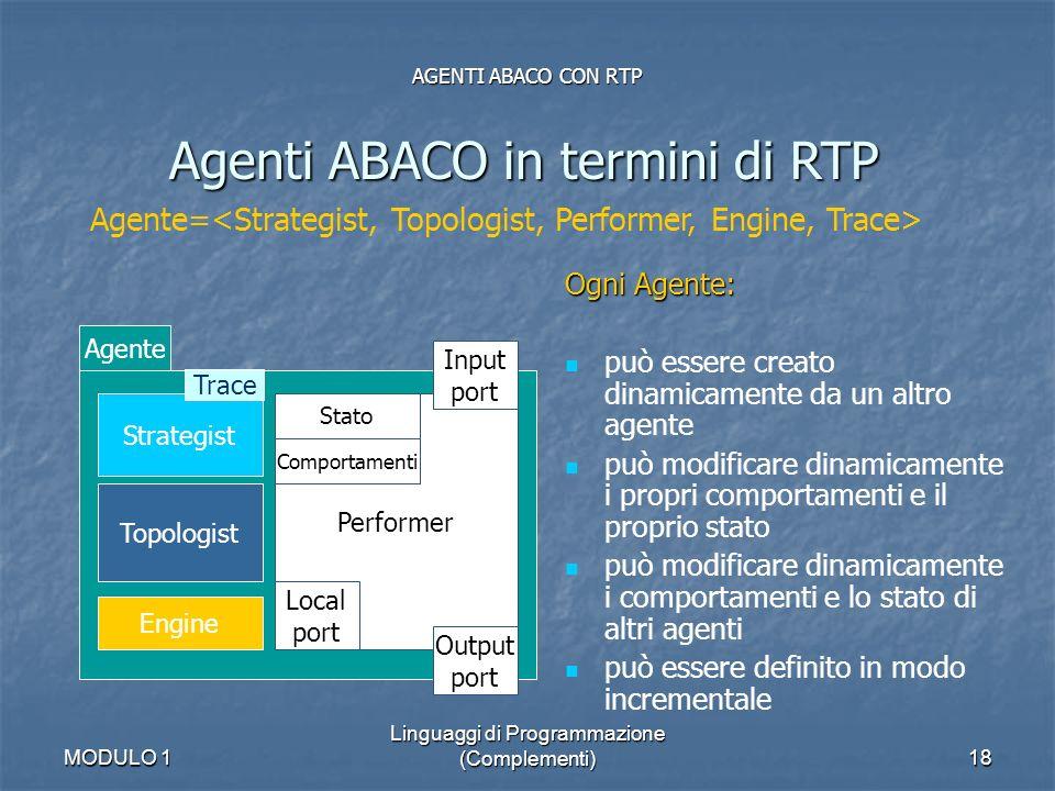 MODULO 1 Linguaggi di Programmazione (Complementi)18 AGENTI ABACO CON RTP Agenti ABACO in termini di RTP Agente= Agente Strategist Topologist Engine P