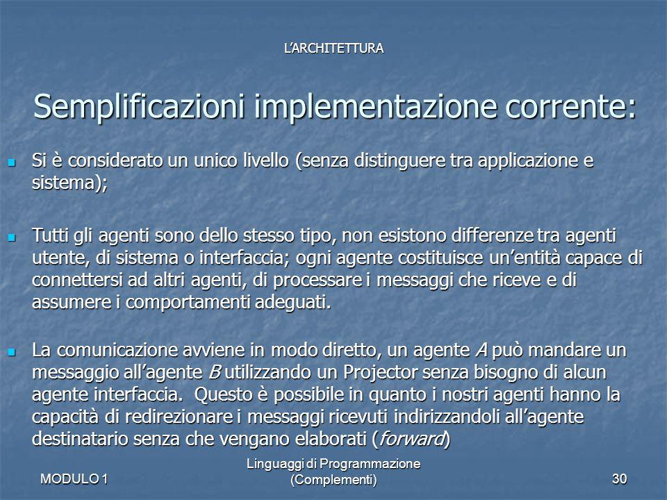 MODULO 1 Linguaggi di Programmazione (Complementi)30 Semplificazioni implementazione corrente: LARCHITETTURA Si è considerato un unico livello (senza