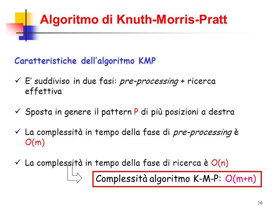 16 Caratteristiche dellalgoritmo KMP E suddiviso in due fasi: pre-processing + ricerca effettiva Sposta in genere il pattern P di più posizioni a dest