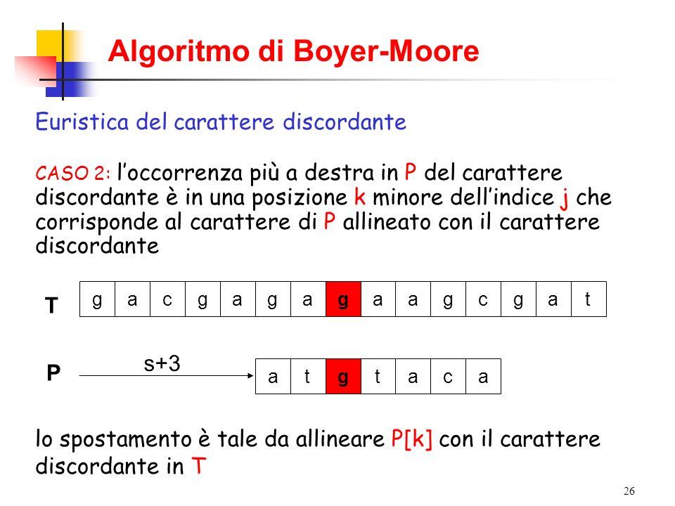 26 Algoritmo di Boyer-Moore Euristica del carattere discordante CASO 2: loccorrenza più a destra in P del carattere discordante è in una posizione k m