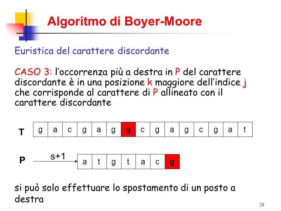 28 Algoritmo di Boyer-Moore Euristica del carattere discordante CASO 3: loccorrenza più a destra in P del carattere discordante è in una posizione k m