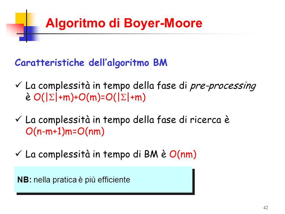 42 Caratteristiche dellalgoritmo BM La complessità in tempo della fase di pre-processing è O(| |+m)+O(m)=O(| |+m) La complessità in tempo della fase d