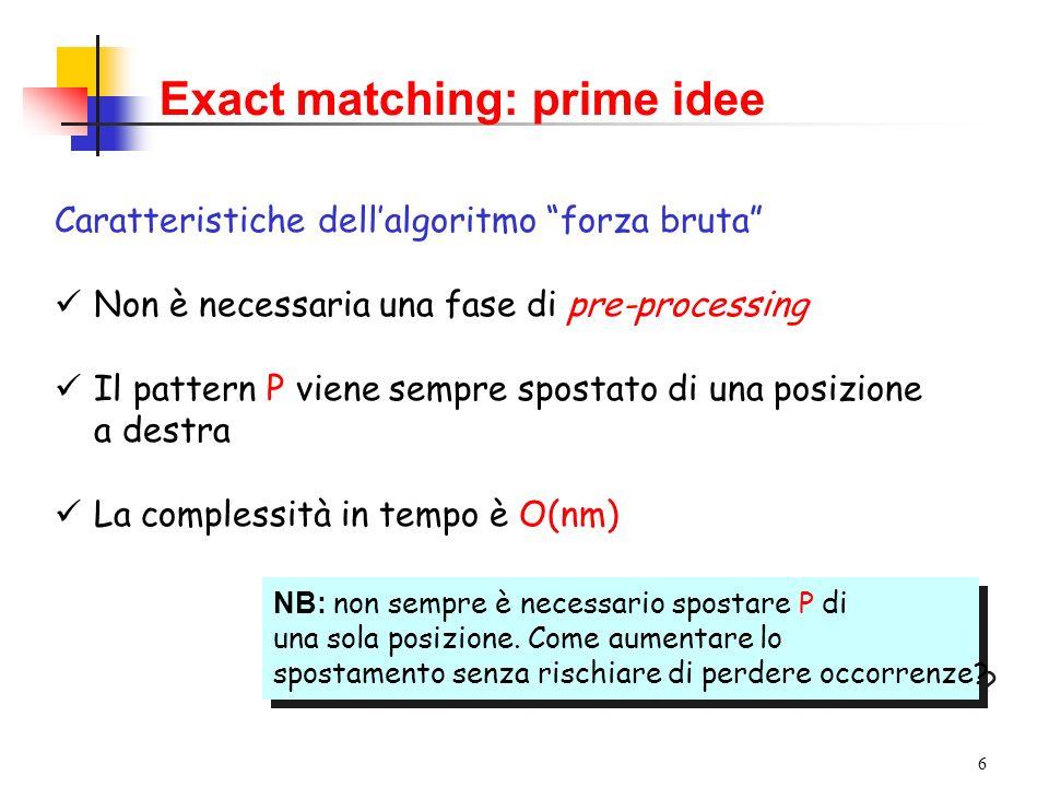 6 Exact matching: prime idee Caratteristiche dellalgoritmo forza bruta Non è necessaria una fase di pre-processing Il pattern P viene sempre spostato