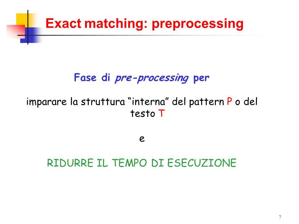 7 Exact matching: preprocessing Fase di pre-processing per imparare la struttura interna del pattern P o del testo T e RIDURRE IL TEMPO DI ESECUZIONE