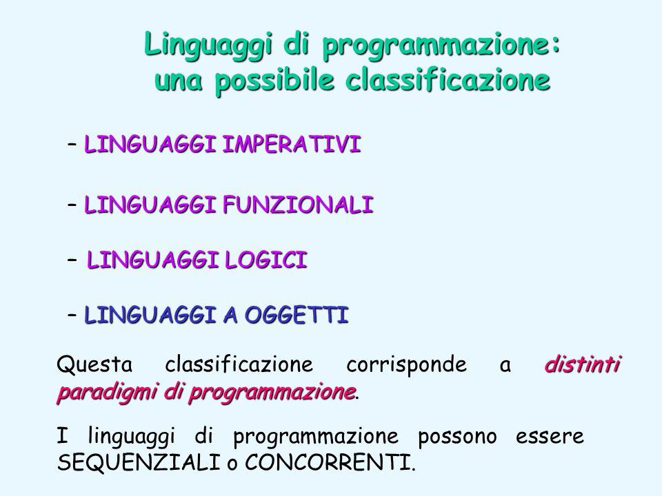 I linguaggi di programmazione possono essere SEQUENZIALI o CONCORRENTI. Linguaggi di programmazione: una possibile classificazione LINGUAGGI IMPERATIV
