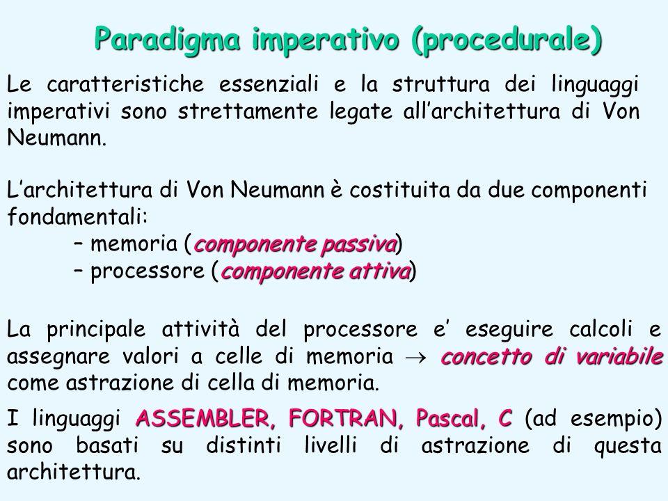 Le caratteristiche essenziali e la struttura dei linguaggi imperativi sono strettamente legate allarchitettura di Von Neumann. Larchitettura di Von Ne
