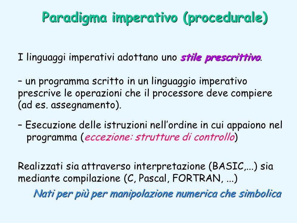 stile prescrittivo I linguaggi imperativi adottano uno stile prescrittivo. – un programma scritto in un linguaggio imperativo prescrive le operazioni