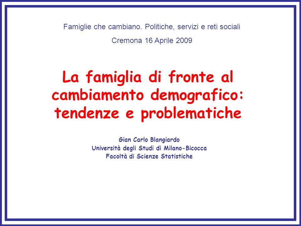 La famiglia di fronte al cambiamento demografico: tendenze e problematiche Gian Carlo Blangiardo Università degli Studi di Milano-Bicocca Facoltà di Scienze Statistiche Famiglie che cambiano.