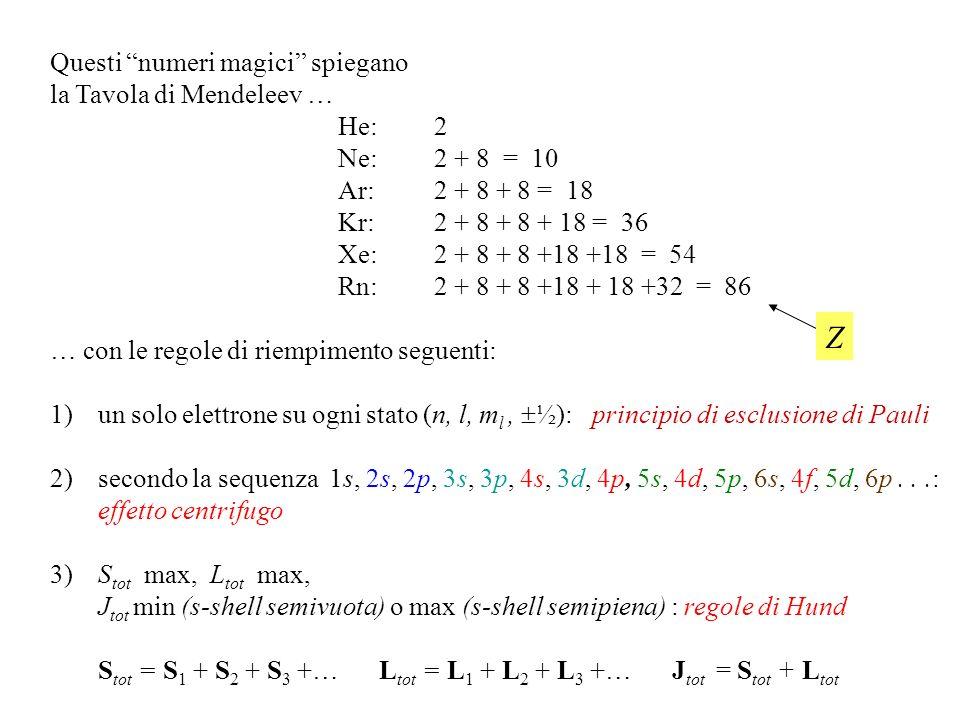 Spin Lelettrone ha anche un momento angolare intrinseco, detto di spin, con due soli valori della componente z, su o giù: (numero quantico s = 1 / 2 )