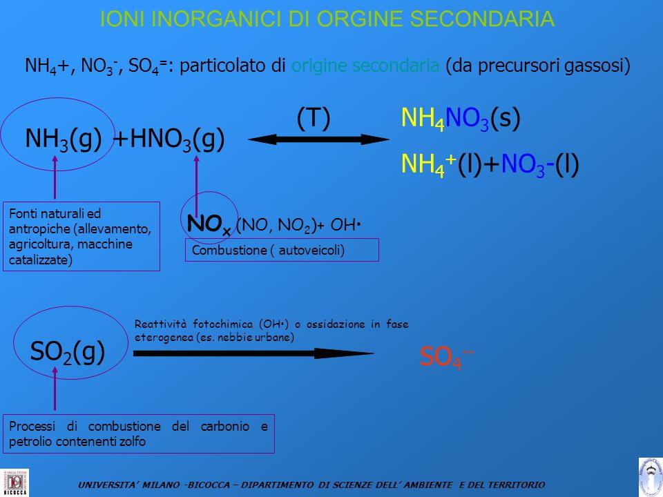 IONI INORGANICI DI ORGINE SECONDARIA NH 4 +, NO 3 -, SO 4 = : particolato di origine secondaria (da precursori gassosi) NH 4 NO 3 (s) NH 4 + (l)+NO 3