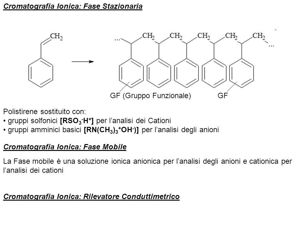 Cromatografia Ionica: Fase Stazionaria Polistirene sostituito con: gruppi solfonici [RSO 3 - H + ] per lanalisi dei Cationi gruppi amminici basici [RN
