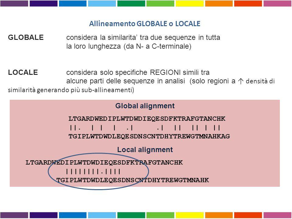 Allineamento GLOBALE o LOCALE GLOBALEconsidera la similarita tra due sequenze in tutta la loro lunghezza (da N- a C-terminale) LOCALE considera solo specifiche REGIONI simili tra alcune parti delle sequenze in analisi (solo regioni a densità di similarità generando più sub-allineamenti) Global alignment LTGARDWEDIPLWTDWDIEQESDFKTRAFGTANCHK ||.