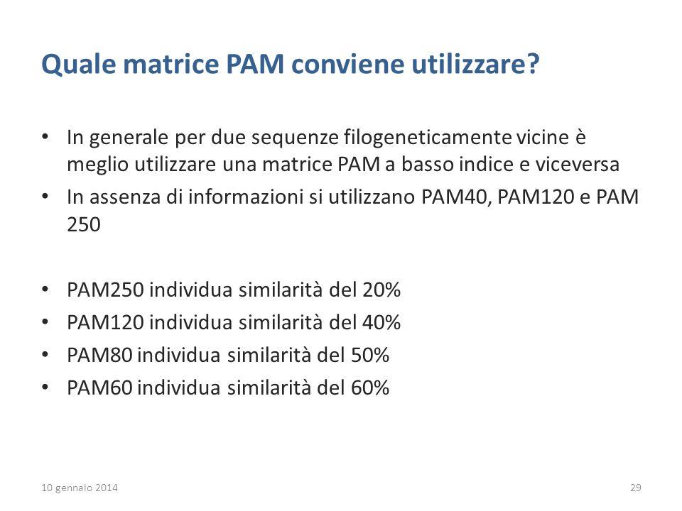 10 gennaio 201429 Quale matrice PAM conviene utilizzare.