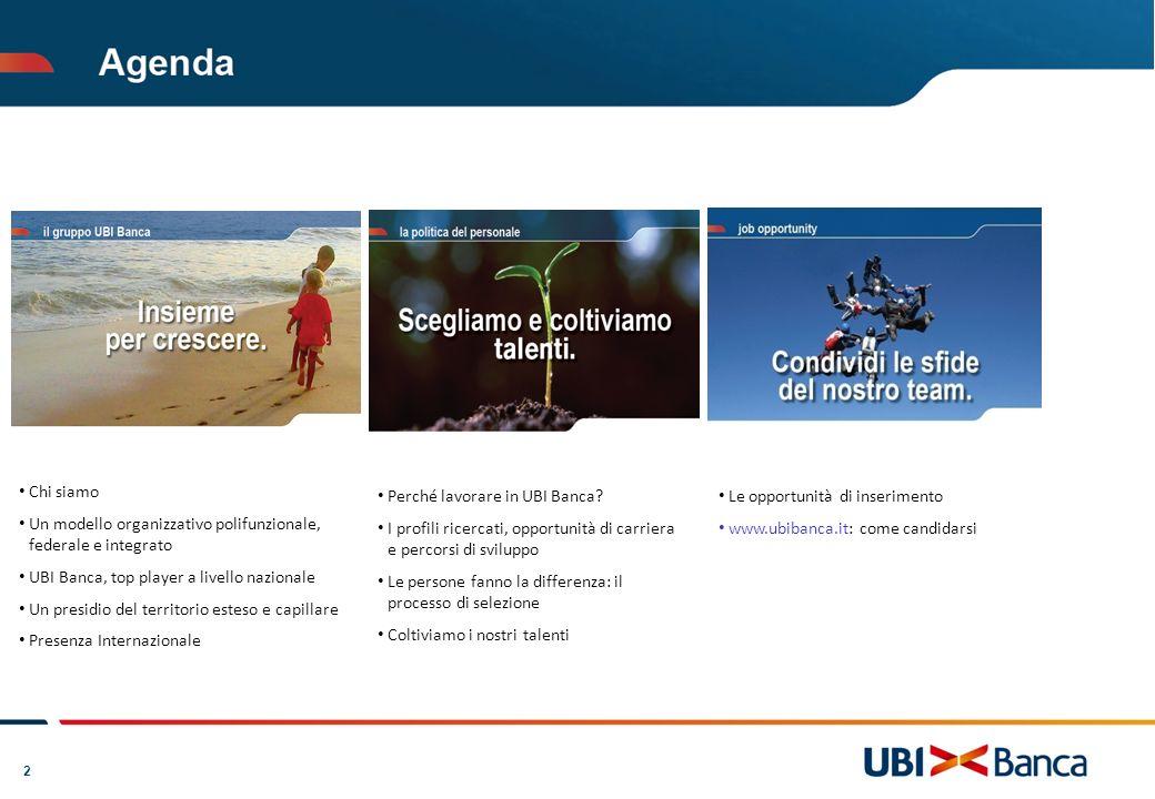2 Chi siamo Un modello organizzativo polifunzionale, federale e integrato UBI Banca, top player a livello nazionale Un presidio del territorio esteso