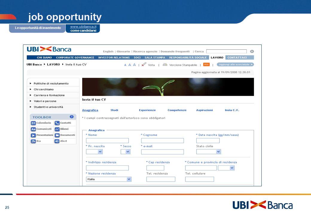 25 www.ubibanca.it: candidarsi in un clic Creiamo valore con le persone: la formazione continua Coltiviamo i nostri talenti: il modello di gestione e