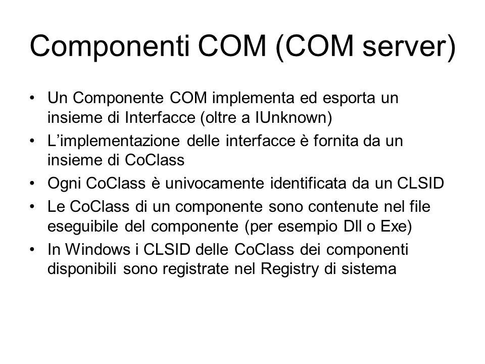 Componenti COM (COM server) Un Componente COM implementa ed esporta un insieme di Interfacce (oltre a IUnknown) Limplementazione delle interfacce è fornita da un insieme di CoClass Ogni CoClass è univocamente identificata da un CLSID Le CoClass di un componente sono contenute nel file eseguibile del componente (per esempio Dll o Exe) In Windows i CLSID delle CoClass dei componenti disponibili sono registrate nel Registry di sistema