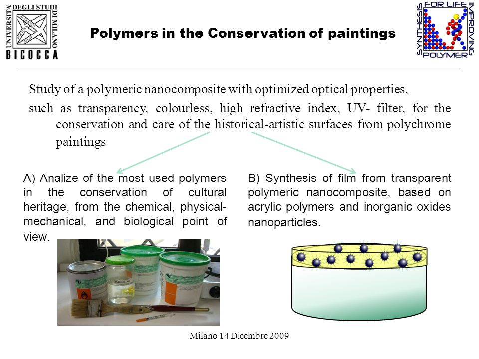 Milano 14 Dicembre 2009 Polymers in the Conservation of paintings Study of a polymeric nanocomposite with optimized optical properties, such as transp