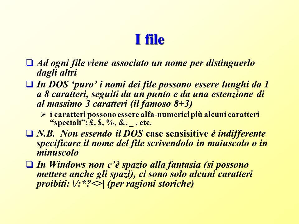 I file Ad ogni file viene associato un nome per distinguerlo dagli altri In DOS puro i nomi dei file possono essere lunghi da 1 a 8 caratteri, seguiti da un punto e da una estenzione di al massimo 3 caratteri (il famoso 8+3) i caratteri possono essere alfa-numerici più alcuni caratteri speciali: £, $, %, &, _, etc.