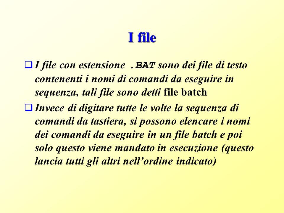 I file I file con estensione.BAT sono dei file di testo contenenti i nomi di comandi da eseguire in sequenza, tali file sono detti file batch Invece di digitare tutte le volte la sequenza di comandi da tastiera, si possono elencare i nomi dei comandi da eseguire in un file batch e poi solo questo viene mandato in esecuzione (questo lancia tutti gli altri nellordine indicato)