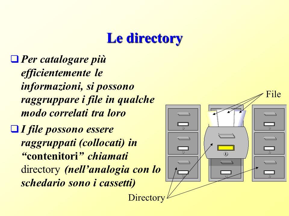 Le directory Per catalogare più efficientemente le informazioni, si possono raggruppare i file in qualche modo correlati tra loro I file possono essere raggruppati (collocati) incontenitori chiamati directory (nellanalogia con lo schedario sono i cassetti) Directory File