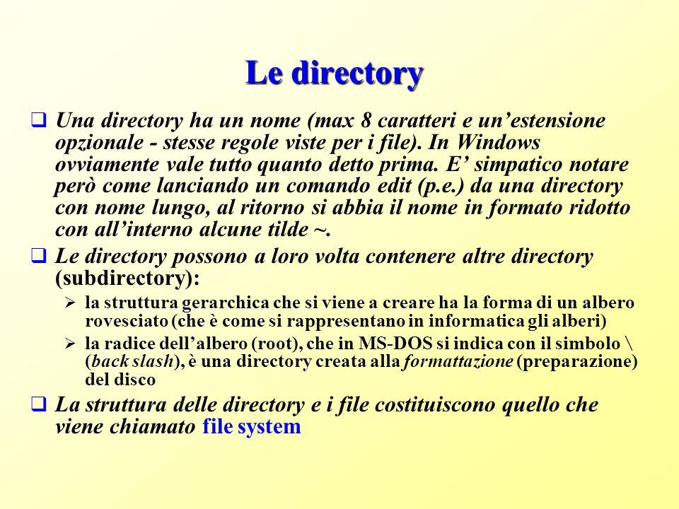 Le directory Una directory ha un nome (max 8 caratteri e unestensione opzionale - stesse regole viste per i file).