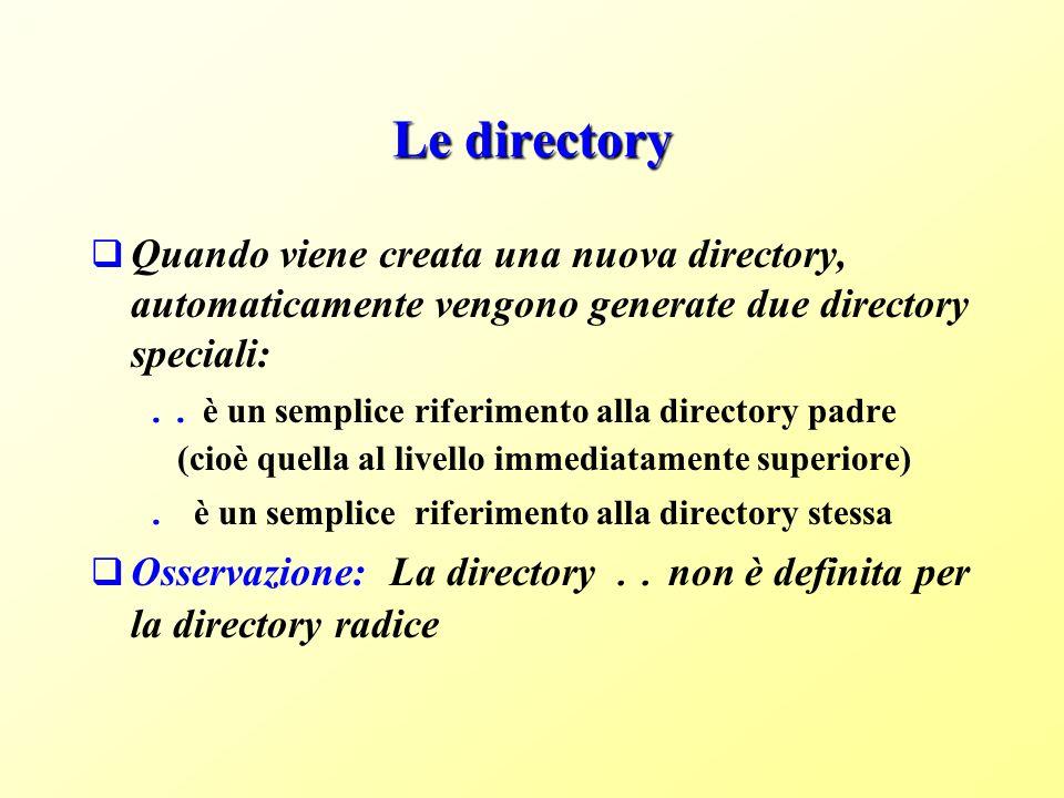 Le directory Quando viene creata una nuova directory, automaticamente vengono generate due directory speciali:..