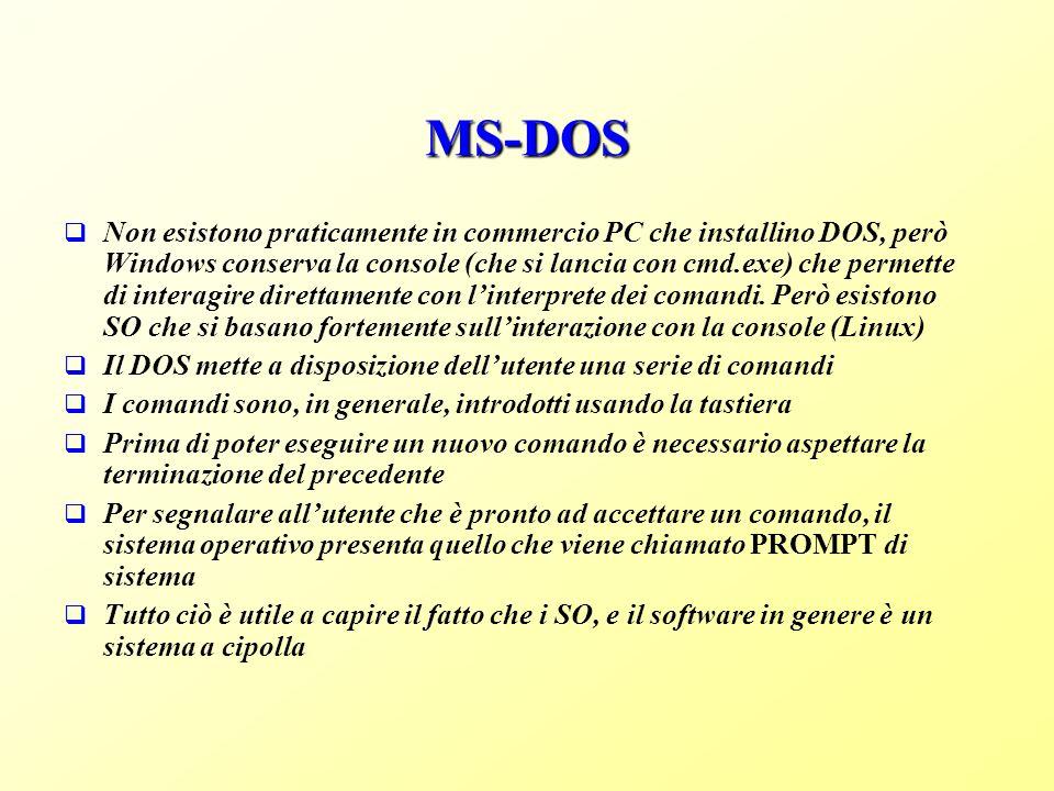 MS-DOS Non esistono praticamente in commercio PC che installino DOS, però Windows conserva la console (che si lancia con cmd.exe) che permette di interagire direttamente con linterprete dei comandi.
