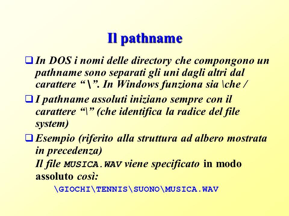 Il pathname In DOS i nomi delle directory che compongono un pathname sono separati gli uni dagli altri dal carattere \.