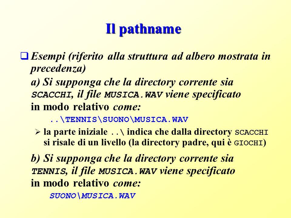 Il pathname Esempi (riferito alla struttura ad albero mostrata in precedenza) a) Si supponga che la directory corrente sia SCACCHI, il file MUSICA.WAV viene specificato in modo relativo come:..\TENNIS\SUONO\MUSICA.WAV la parte iniziale..\ indica che dalla directory SCACCHI si risale di un livello (la directory padre, qui è GIOCHI ) b) Si supponga che la directory corrente sia TENNIS, il file MUSICA.WAV viene specificato in modo relativo come: SUONO\MUSICA.WAV